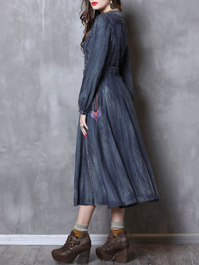 Embroidery Long Sleeve Stand Collar Belt A-Line Denim Dresses