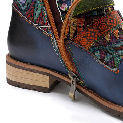 Belt Buckle Embroidery Chunky Low Heel Leather Patchwork Boots