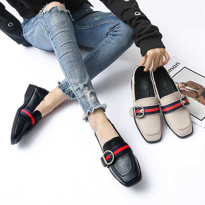 Belt buckle color matching comfortable wild foot sleeve lazy shoes