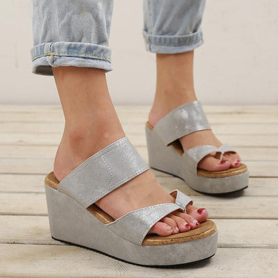 Casual wild wedge heel waterproof clip toe high heel sandals female