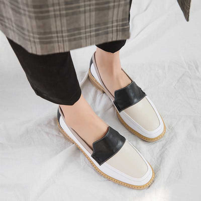 Wild England style retro color matching loafers