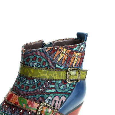 Vintage Stripes Buckle Round Toe Chunky Heel Leather Ankle Boots