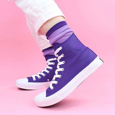 Casual Purple Lace-Up Round Toe Flat Heel Upper High Canvas Sneakers