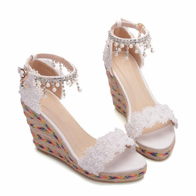 Elegant Lace Floral Beads Buckle Strap Sandals