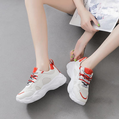 2019 autumn new mesh breathable thick bottom casual ladies sneakers