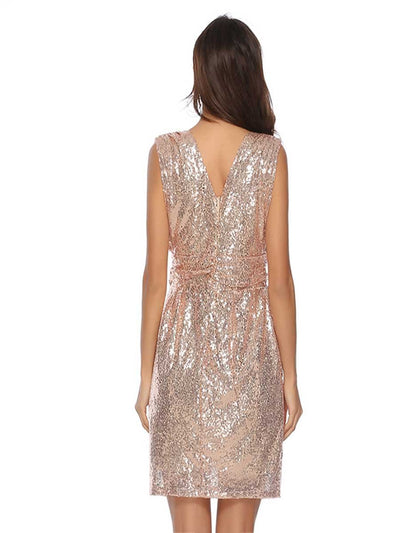 Sequined sleeveless mid-length dress