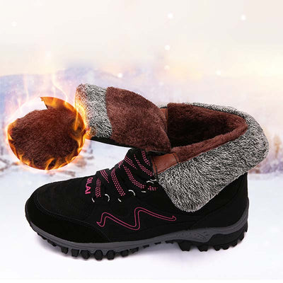 2019 winter new snow boots women plus velvet warm cotton shoes outdoor hiking shoes anti-boots winter shoes non-slip thickening high to help cotton shoes walking shoes