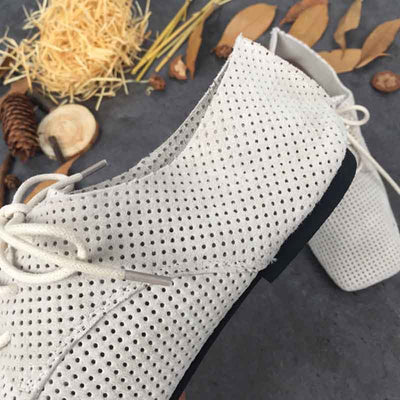 Square head breathable hollow retro hole shoes