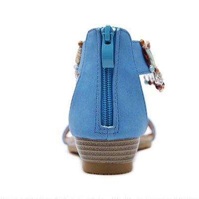 Solid Color Bohemian Style Bead Back Zipper Flat Heel Sandals