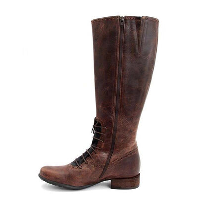 Casual side zipper keep warm low heel high tube women's boots tide