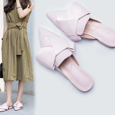 Pointed flat half-drag butterfly shoes
