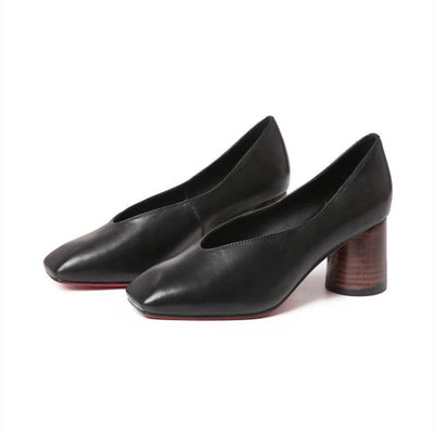 Retro square head shallow V small leather shoes