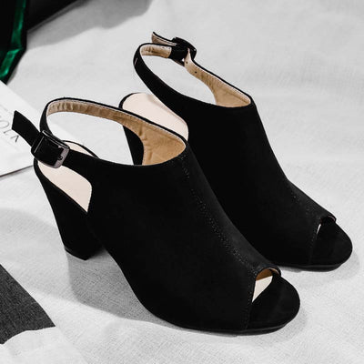 Temperament suede matte with heel women's sandals