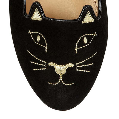 Gold velvet versatile casual round head cat flats