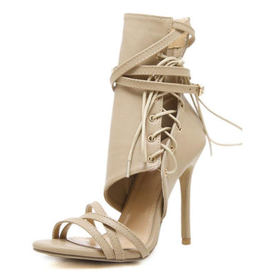 Hollow Cross Belt Lace-Up Side Zipper Stiletto Heel Buckle Sandals