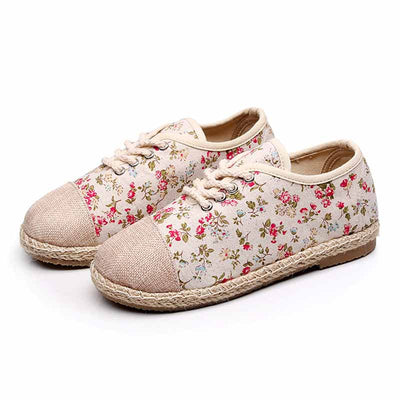 Student casual versatile flat bottom breathable floral women shoes