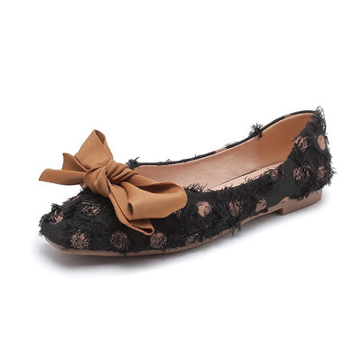 Wild late evening fairy square head shallow mouth flat peas shoes