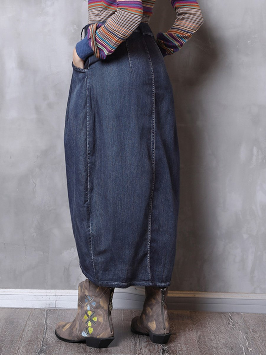Vintage Asymmetric Pocket Buttons Pleated High-Waist Denim Skirts