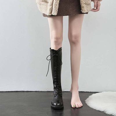 2019 new winter European and American style leather front strap flat heel thin and long tube boots