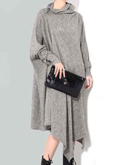 Casual Solid Color Asymmetric High Neck Long Sleeve Casual Dresses