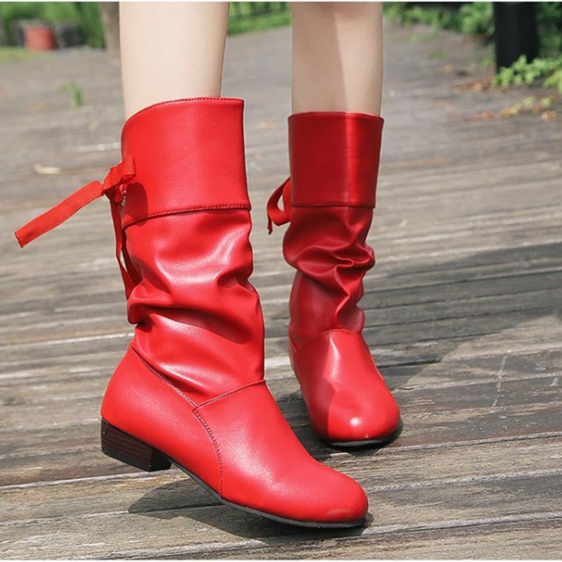 Ladies' new suede low-heel mid-tube boots fashion boots
