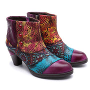 Chunky Heel Embroidery Color Block Round Toe Ankle Boots