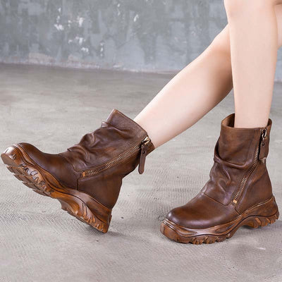 2019 autumn and winter new cowhide boots retro zipper platform boots