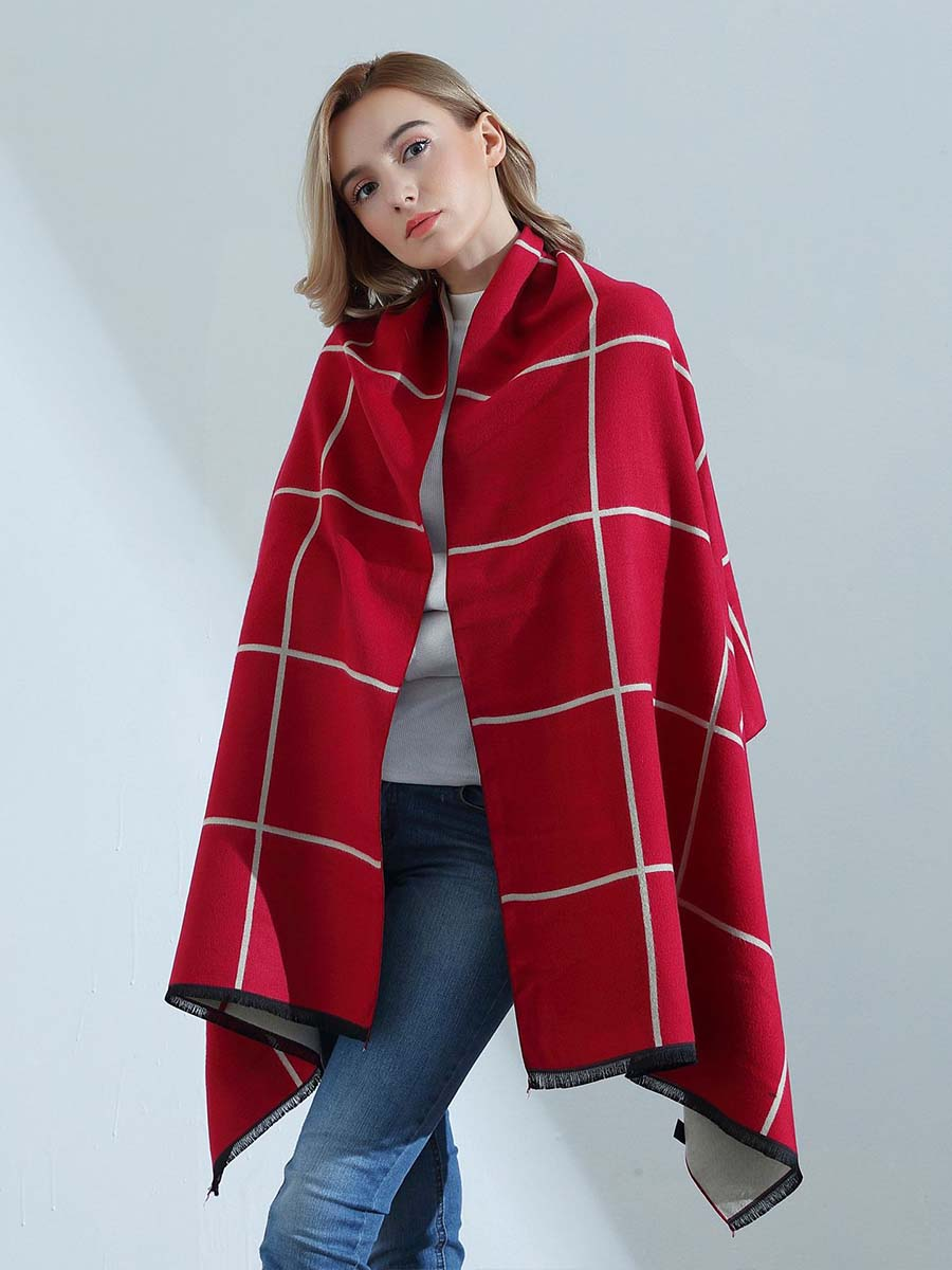 2019 autumn and winter new ladies cashmere scarf double-sided stitching England classic plaid