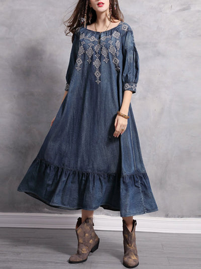 Ruffle Embroidery Short Sleeve Square Neck Buttons Pleated Denim Dresses