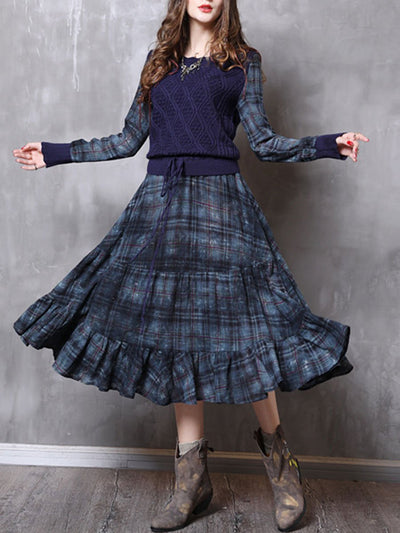 Vintage Plaid Round Neck Long Sleeve Lace-Up Ruffle Casual Dresses
