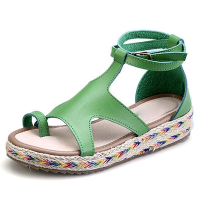 Bohemian Plus Size Hollow Ankle Strap Buckle Thong Hand-Made Sandals