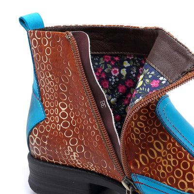 Flower Design Color Block Round Toe Leather Boots