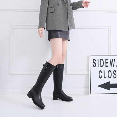 New Fashion Boots Plus Velvet Warm Flat Knight Boots Leather Long Women's Boots