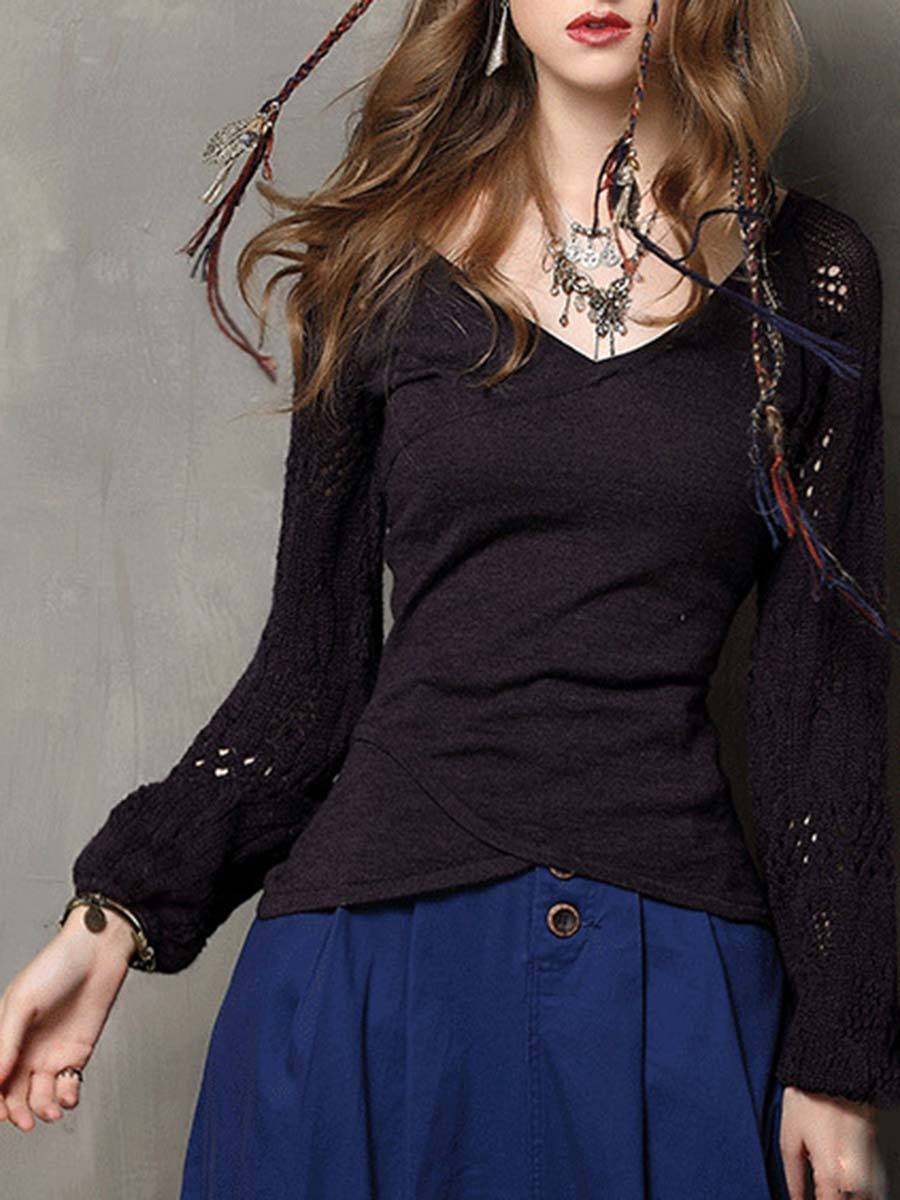 Solid Color Lantern Sleeve Hollow V-Neck Slim Patchwork Knitwear