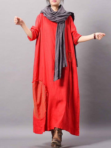 Brief Long Sleeve Solid Color Pocket Loose Round Neck Linen & Cotton Dresses