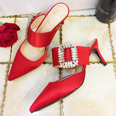 Rhinestone square buckle silk satin pointed sandals