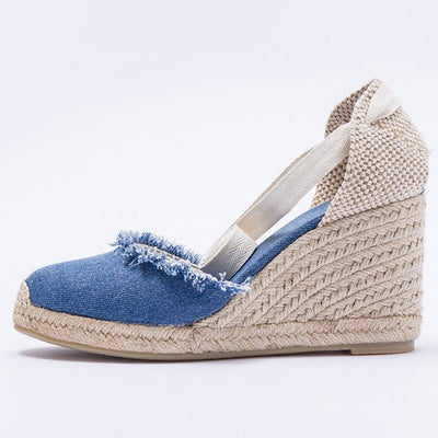 Color Block Tassel Patchwork Hand-Made Hollow Linen & Cotton Sandals