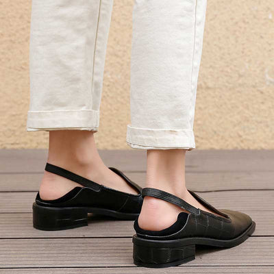 Retro wild student two shoes square flat shoes