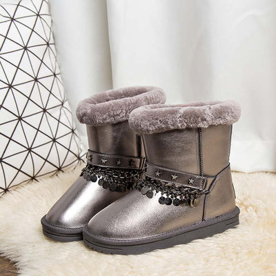 Winter new wool warm mid tube breathable non-slip female snow boots