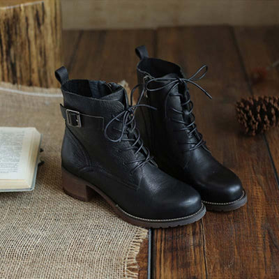 New leather Martin boots women's thick-legged literary retro with a single boot female first layer leather women's shoes boots