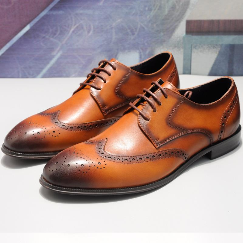 Four seasons classic Brock carved first layer cowhide men's strap business casual leather shoes