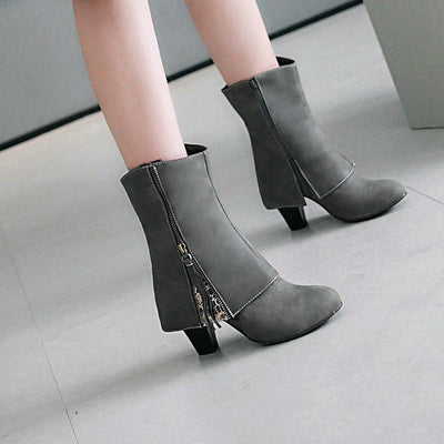 Fashion casual thick high heel tassel lace low boots