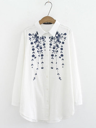 Plus Size Long Sleeve Embroidery Turn Down Collar Buttons Blouses