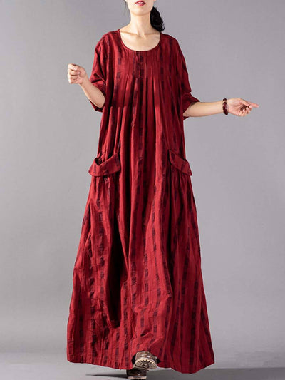 Plus Size Round Neck Long Sleeve Pocket Plaid Linen & Cotton Dresses