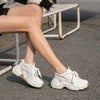 2020 spring new thick-bottom trendy wild leather heighten women's sneakers