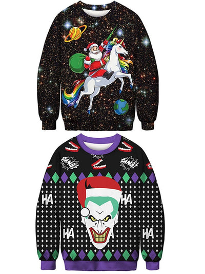 2019 Christmas digital printing round neck women's sweater loose pullover