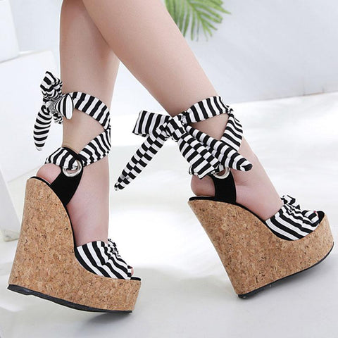 Fashion Stripes Knot Lace-Up Open Toe Platform Heel Hollow Wedges