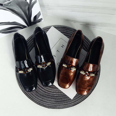 Autumn Loafer leather fashion chain square head leather low-heeled shoes