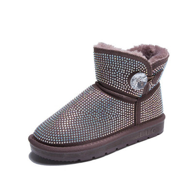 2019 winter new wild warm non-slip flat rhinestone snow boots