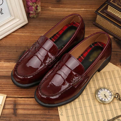Japanese college style uniform shoes cosplay universal student performance leather shoes